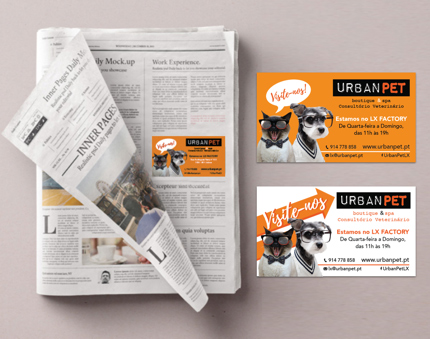 urban pet card and newspapper add